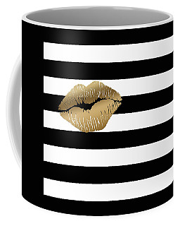 Metallic Gold Lips Black And White Stripes Coffee Mug