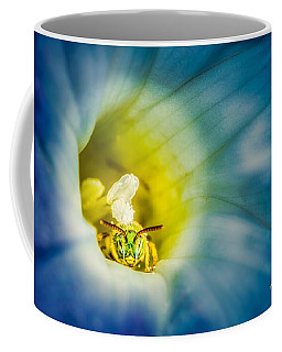 Metallic Green Bee In Blue Morning Glory Coffee Mug by Rikk Flohr