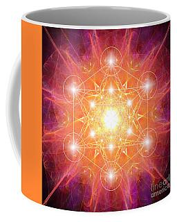 Coffee Mug featuring the digital art Metatron's Cube Shiny by Alexa Szlavics