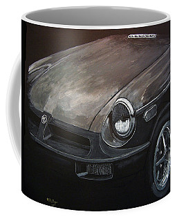 Coffee Mug featuring the painting Mgb Rubber Bumper Front by Richard Le Page