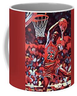 Coffee Mug featuring the painting Michael Jordan Slam Dunk by Dan Sproul