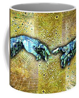 Coffee Mug featuring the mixed media Michelangelo's Creation Of Man by Tony Rubino