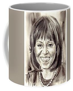 Michelle Obama Watercolor Portrait Coffee Mug