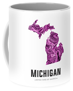 Michigan Map Art Abstract In Purple Coffee Mug