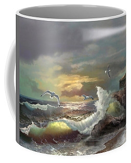 Michigan Seul Choix Point Lighthouse With An Angry Sea Coffee Mug