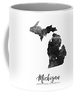 Michigan State Map Art - Grunge Silhouette Coffee Mug