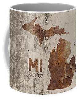 Michigan State Map Industrial Rusted Metal On Cement Wall With Founding Date Series 005 Coffee Mug