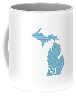 Michigan State Map With Text Of Constitution Coffee Mug