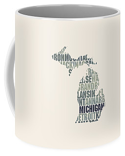 Michigan State Outline Word Map Coffee Mug