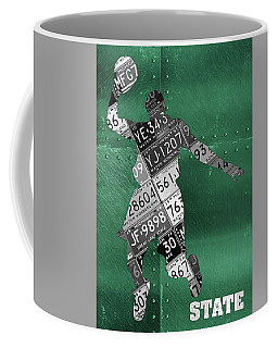 Michigan State Spartans Basketball Player Recycled Michigan License Plate Art Coffee Mug