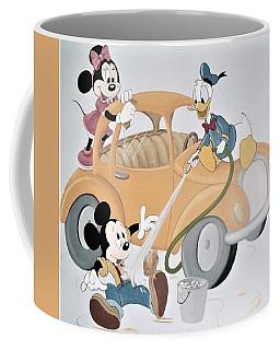 Micky,minnie And Donald On Car Coffee Mug