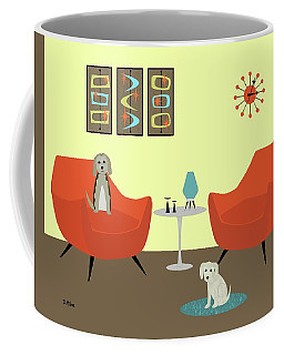 Coffee Mug featuring the digital art Mid Century Modern Dogs 1 by Donna Mibus