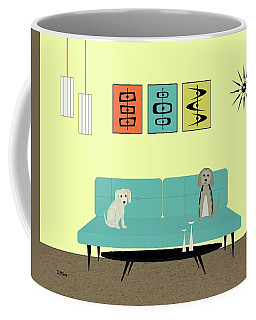 Coffee Mug featuring the digital art Mid Century Modern Dogs 2 by Donna Mibus