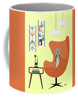 Coffee Mug featuring the digital art Mid Century Modern Dogs 3 by Donna Mibus