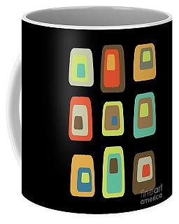 Coffee Mug featuring the digital art Mid Century Modern Oblongs On Black by Donna Mibus