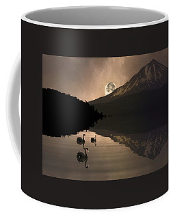 Coffee Mug featuring the photograph Midnight Moods Swan Lake In The Moonlight by Diane Schuster