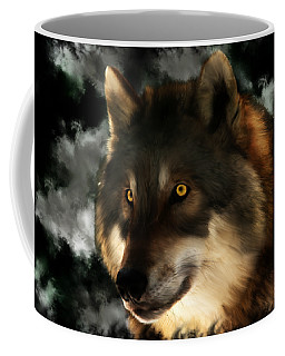 Midnight Stare - Wolf Digital Painting Coffee Mug