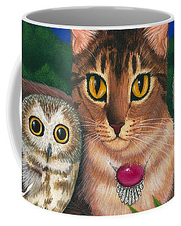 Midnight Watching - Abyssinian Cat Saw Whet Owls Coffee Mug