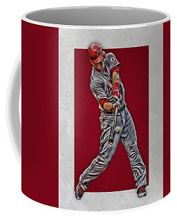 Coffee Mug featuring the mixed media Mike Trout Los Angeles Angels Art 1 by Joe Hamilton