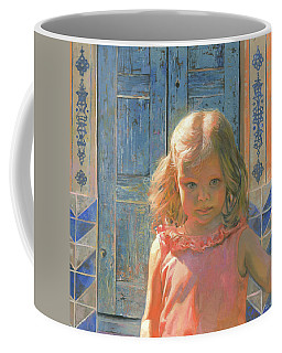 Mila Against The Blue Wood Door  Coffee Mug