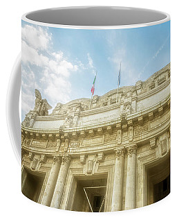 Coffee Mug featuring the photograph Milan Italy Train Station Facade by Joan Carroll
