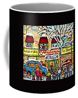Coffee Mug featuring the painting Milano Grocery Little Italy Paintings Dante Street Hockey Art Montreal Winter Scene Carole Spandau   by Carole Spandau