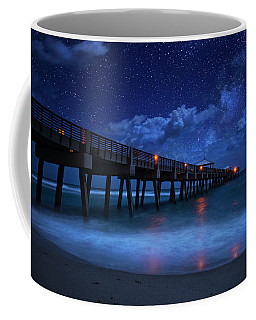 Milky Way Over Juno Beach Pier Under Moonlight Coffee Mug