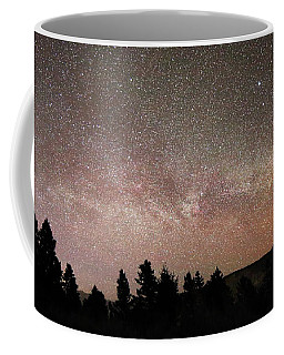 Milky Way Over Mammoth Hot Springs With Pink Glow From Aurora Borealis Coffee Mug