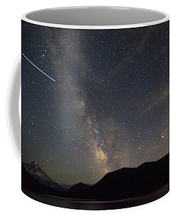 Milky Way Over Mount Hood With International Space Station Coffee Mug