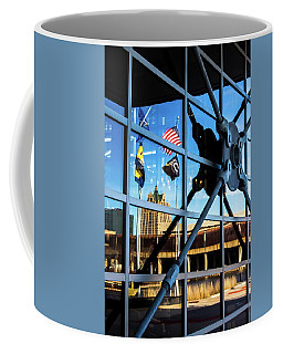 Milwaukee Reflected In The Windows Of The Harley Davidson Museum Coffee Mug