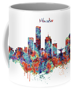 Coffee Mug featuring the mixed media Milwaukee Watercolor Skyline by Marian Voicu
