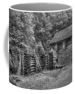 Coffee Mug featuring the photograph Mingus Mill Black And White Mingus Creek Great Smoky Mountains Art by Reid Callaway