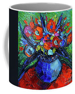 Mini Floral On Red Round Table Coffee Mug