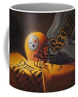 Coffee Mug featuring the painting Mini Helmet Commemorative Edition by Joe Winkler