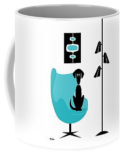 Coffee Mug featuring the digital art Mini Mod Pods On White With Dog by Donna Mibus