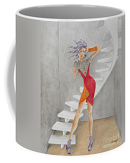 Minimalist Madness -- Whimsical Fashion Drawing Coffee Mug