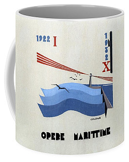 Minimalist Nautical Poster - Opere Marittime - Retro Travel Poster - Vintage Poster Coffee Mug