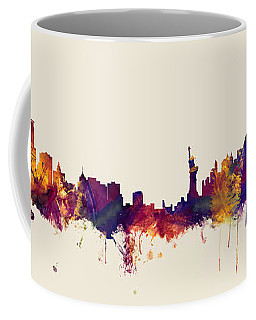 Minneapolis And New York Skylines Mashup Coffee Mug