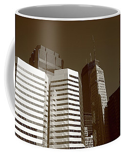 Coffee Mug featuring the photograph Minneapolis Skyscrapers 5 Sepia by Frank Romeo