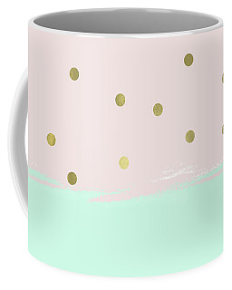 Mint Peach Gold Confetti Stripes Coffee Mug