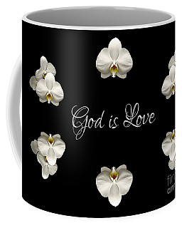 Coffee Mug featuring the photograph Mirrored Orchids Framing God Is Love by Rose Santuci-Sofranko