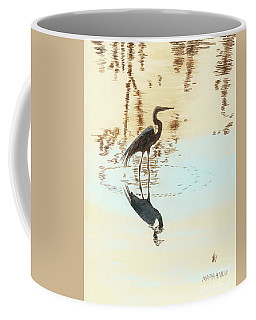 Coffee Mug featuring the painting Mirroring by Maria Iliou