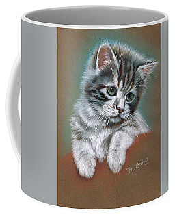 Coffee Mug featuring the mixed media Mischief by Val Stokes