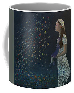 Coffee Mug featuring the painting Miss Frost Watching The Autumn Dance by Tone Aanderaa
