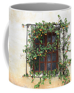 Mission Window With Yellow Flowers Coffee Mug
