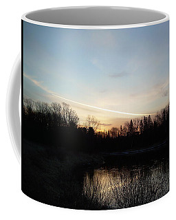 Coffee Mug featuring the photograph Mississippi River Colorful Dawn Clouds by Kent Lorentzen
