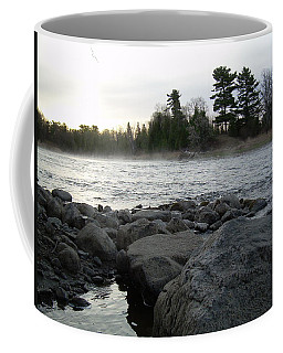 Coffee Mug featuring the photograph Mississippi River Dawn Over The Rocks by Kent Lorentzen