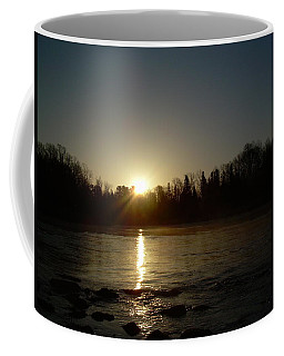Coffee Mug featuring the photograph Mississippi River Golden Sunrise by Kent Lorentzen