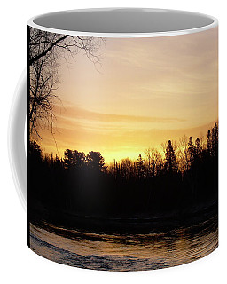 Coffee Mug featuring the photograph Mississippi River Orange Sky by Kent Lorentzen