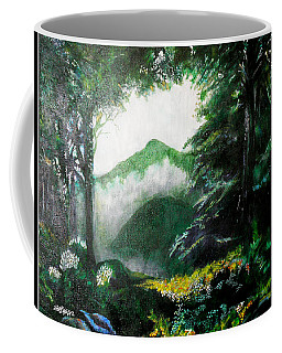 Coffee Mug featuring the painting Mist On The Mountain by Seth Weaver